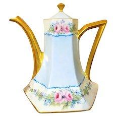 Limoges Hand Painted Rose Flower Tea Coffee Pot,Artist Signed