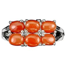 14K White Gold  925 Sterling Silver Natural Red Coral Ring