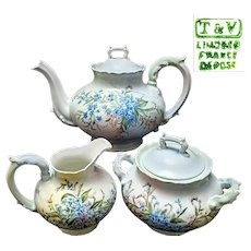 Large Limoges Hand Painted Flower Coffee Tea Pot /Creamer/Sugar Bowl Set