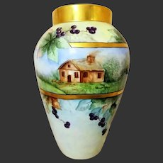 Huge Limoges Hand Painted Vase