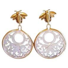 14k Yellow Gold Sterling Silver MOP Bee  Drop Earrings