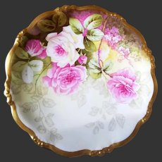 Limoges Hand Painted Rose Plate,Artist Signed
