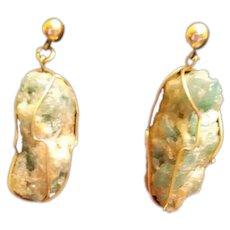 Vintage Estate Emerald Stone Modernist 14k Gold Emerald Earrings