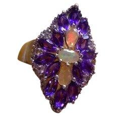 925 Sterling Silver Amethyst & Opal ring
