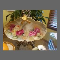 Limoges Hand Painted Rose Dish Tray, Artist Signed, Masterpiece