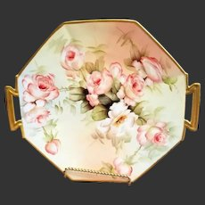 "14"" Limoges Hand Painted Rose Charger,  Artist Signed, Ester Miler"