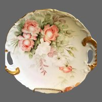 Limoges Hand Painted Rose Charger,Artist Signed