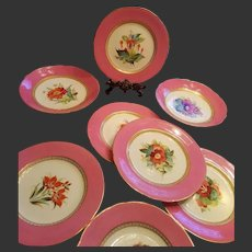 Antique Old Paris Hand Painted LeRosey French Porcelain China Plate/ Compote Dish SET