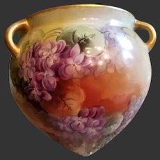 Limoges Hand Painted Violet Jardiniere Cache Pot Planter