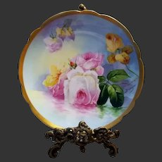 "Limoges Hand Painted Reflecting Waters Rose Plate,Artist Signed,""Duval"""