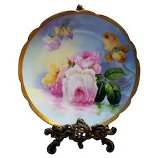 """Limoges Hand Painted Reflecting Waters Rose Plate,Artist Signed,""""Duval"""""""