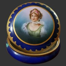 Limoges Hand Painted Dresser Jar Box, Portrait of Queen Louise