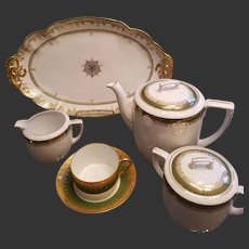 Antique Limoges Haviland and M.Z. Austria Tea Pot / Creamer/Sugar/Cup/Saucer/Platter Set