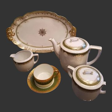 Antique Limoges Haviland and M.Z. Austria Tea Pot / Creamer/Sugar/Cup/Saucer/Platter Set