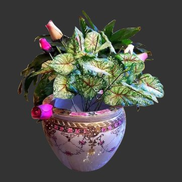 Nippon Hand Painted Rose Jeweled Jardiniere Cache Pot Planter