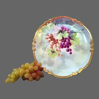 Limoges Hand Painted Grape Charger Plaque,Artist Signed