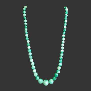 Graduated Natural Jade Jadeite Bead Necklace