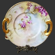 Limoges Hand Painted Violet Cake Plate Charger