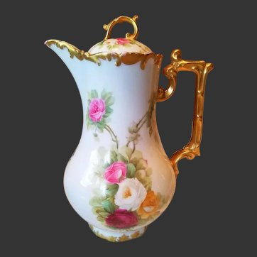 Limoges Hand Painted Rose Chocolate Pot, French Listed Artist Signed