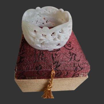 Antique Chinese Carved Celadon Nephrite Jade Bracelet Bangle
