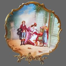 "15.5"" Magnificent Limoges Figural Scene Porcelain Plaque Charger, French Listed Artist Signed, ""F.Villetelle"""