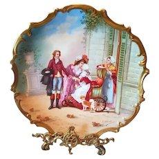 """15.5"""" Magnificent Limoges Figural Scene Porcelain Plaque Charger, French Listed Artist Signed, """"F.Villetelle"""""""