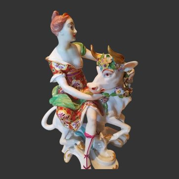 """Antique Chelsea-Derby Figural Group """"Europa and Bull"""""""