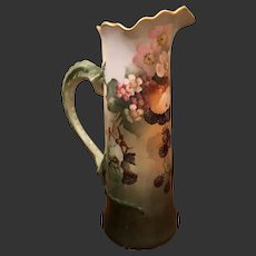 Limoges Hand Painted  Berry Tankard Pitcher 3 Mug Set
