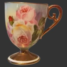 "Limoges Hand Painted Reflecting Waters Rose Cup, Listed French Artist Signed,""Duval"""