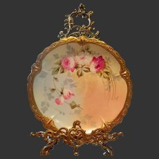 """Limoges Hand Painted Rose Plaque or Charger, Listed French Artist signed""""Pierrer"""""""