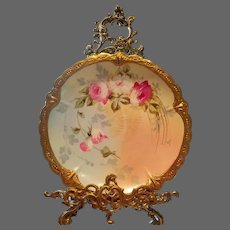 "Limoges Hand Painted Rose Plaque or Charger, Listed French Artist signed""Pierrer"""