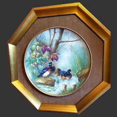 Large French Framed Hand Painted Old Paris Porcelain Plaque Charger, Ducks