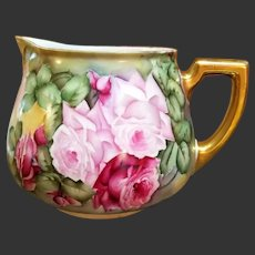 """Limoges Hand Painted Rose Lemonade Cider Pitcher,Artist Signed,""""Cook"""""""