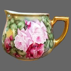 "Limoges Hand Painted Rose Lemonade Cider Pitcher,Artist Signed,""Cook"""