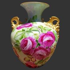 Large American Belleek Hand Painted Cherub Rose Vase