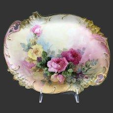 Limoges Hand Painted Rose Dresser Vanity Tray