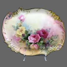 Limoges Hand Painted Rose Dresser Vanity Tray