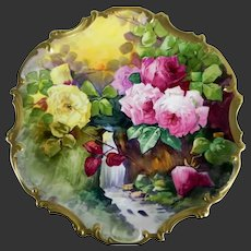 """16"""" Limoges Hand Painted Waterfall Scene Rose Plaque Charger, Listed Artist Signed,""""Duval"""""""