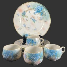 """Nippon Hand Painted """"Forget-Me-Not """" 4 Cup/4 Desert Plate Set"""