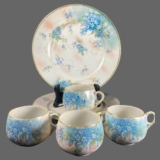 "Nippon Hand Painted ""Forget-Me-Not "" 4 Cup/4 Desert Plate Set"