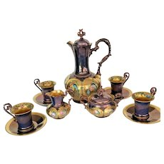 Limoges Hand Painted Chocolate Pot Creamer/Sugar Bowl 4 Cup/4 Saucer Set