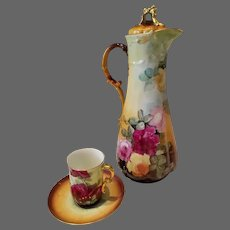 Limoges Hand Painted Rose Chocolate Pot Set,Artist Signed