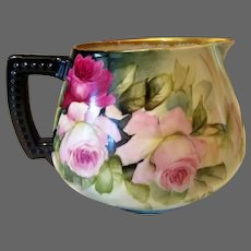 "Limoges Hand Painted Rose Cider Pitcher, Artist Signed, ""Ester Miler """