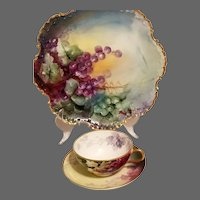 Limoges Hand Painted Grape Cup and Charger,Artist Signed