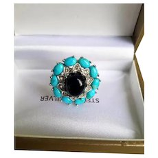 925 Sterling Silver Turquoise & Black Onyx  Ring