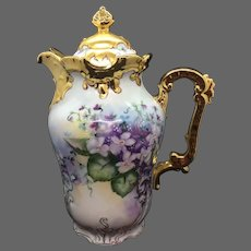 Bavaria Limoges Hand Painted  Violet Chocolate Pot, Artist Signed