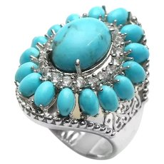 925 Large Sterling Silver Turquoise & Topaz Flower Ring