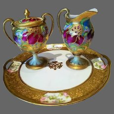 Nippon Hand Painted Footed Creamer/ Sugar Bowl and Charger Set