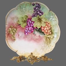 Limoges Hand Painted Grape Plaque Charger with Spider Web