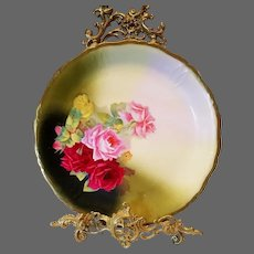Large Royal Rudolstadt Prussia hand Painted Rose Plaque charger